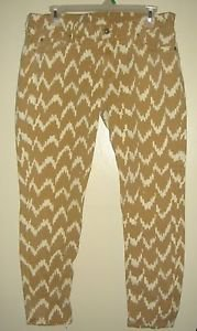 7 For All Mankind Cropped Skinny Jeans Stretch Toffee Beige Ikat Chevron Size 30