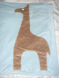 Dwell Studio Target Baby Blanket Giraffe Blue Brown Animal Horse Llama 30 x 40