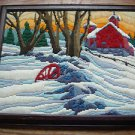 "Long Stitch Needlepoint Farm Snow Barn Winter Scene Completed Framed 12.5""x15.5"""