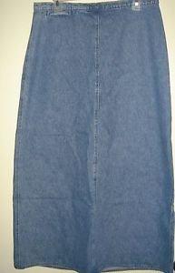 WOOLRICH Long Jean Denim Skirt Modest A-Line Maxi Back Slit Cotton Womens 12