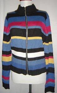 DRESS BARN Full Zip-Front Cardigan Sweater Striped Mock Turtleneck Womens Medium