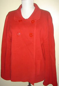 Talbots Jacket Blazer Coat RED 100% Cotton Waffle Knit Fully Lined Womens Large