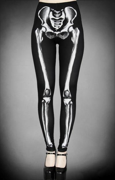 RESTYLE - SKELETON BONES, X-RAY, BLACK STRETCH  LEGGINGS *NEW* / SZ S-M