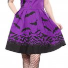 SOURPUSS - SPOOKSVILLE BATTY BAT DRESS PURPLE & BLACK *NEW* / HORROR, ROCKABILLY