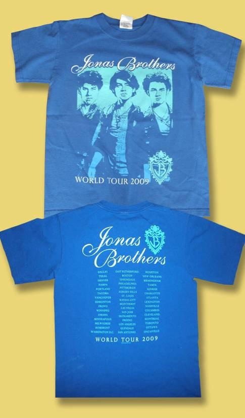 THE JONAS BROTHERS - WORLD TOUR 2009 CONCERT TOUR T-SHIRT *NEW* / SZ. L
