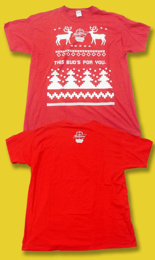 """BUDWEISER - """"THIS BUD'S FOR YOU"""" UGLY CHRISTMAS SWEATER T-SHIRT *NEW* / RED"""