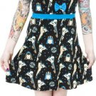SOURPUSS - ROLLER DERBY DARLIN' DRESS, ROLLER SKATES PRINT - BLUE *NEW*