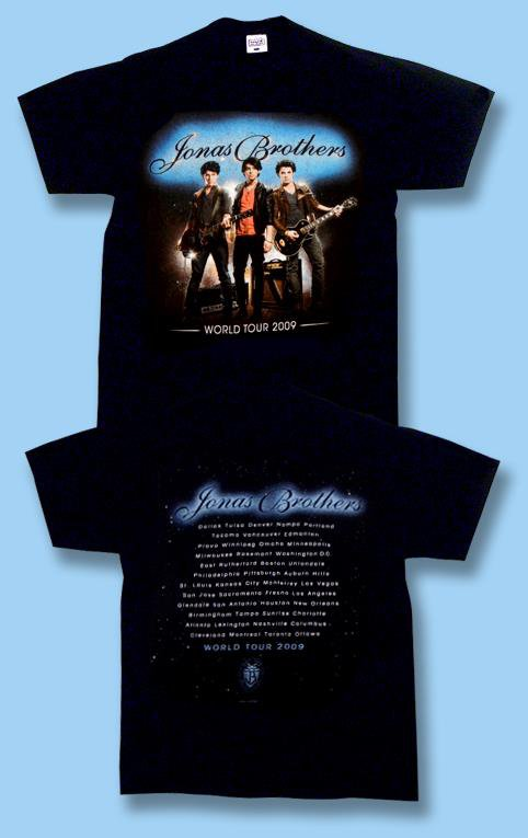 THE JONAS BROTHERS - WORLD TOUR 2009 CONCERT TOUR T-SHIRT  / SIZE SMALL, S