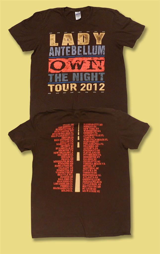 "LADY ANTEBELLUM - 2012 ""OWN THE NIGHT"" CONCERT TOUR T-SHIRT / SZ. M & L"