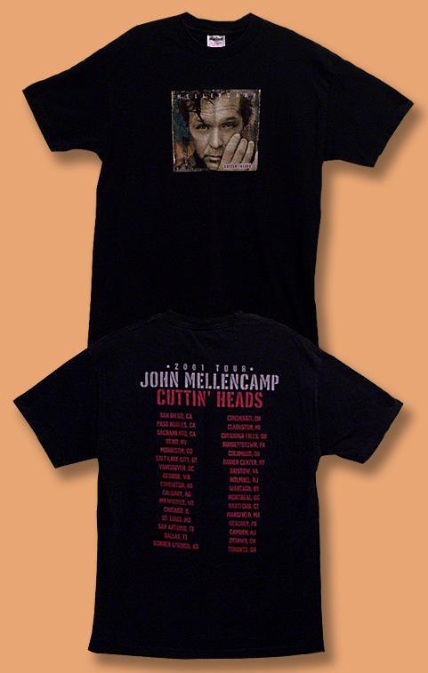 """JOHN COUGAR MELLENCAMP - 2001 """"CUTTIN' HEADS CONCERT TOUR T-SHIRT *NEW* / SZ. XL"""