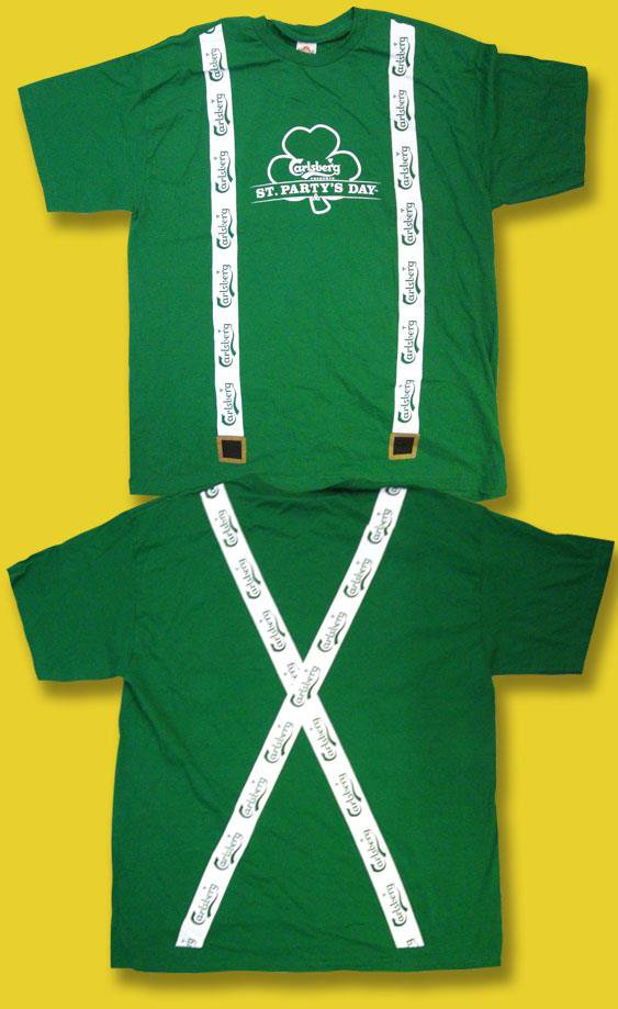 """CARLSBERG BEER - ST PATRICK'S DAY """"ST. PARTY'S DAY"""" SUSPENDERS T-SHIRT *NEW* / L"""