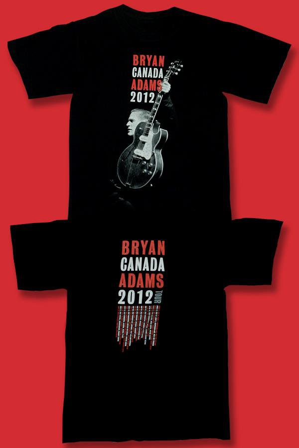 BRYAN ADAMS - 2012 CANADIAN CONCERT TOUR T-SHIRT / SZ. SMALL