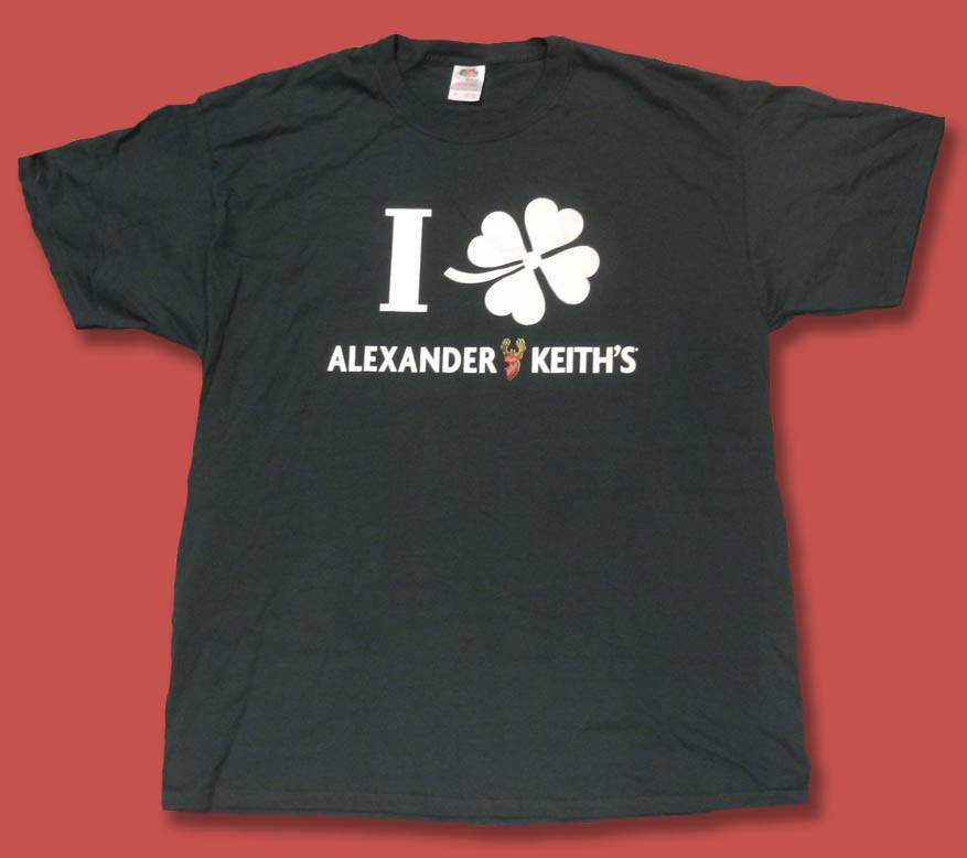 ALEXANDER KEITH'S ALE, BEER - CLOVER LEAF ST. PATRICK'S DAY T-SHIRT *NEW*