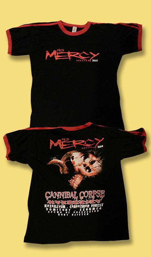 CANNIBAL CORPSE - NO MERCY FESTIVAL 2004 CONCERT TOUR RINGER T-SHIRT / SZ. L