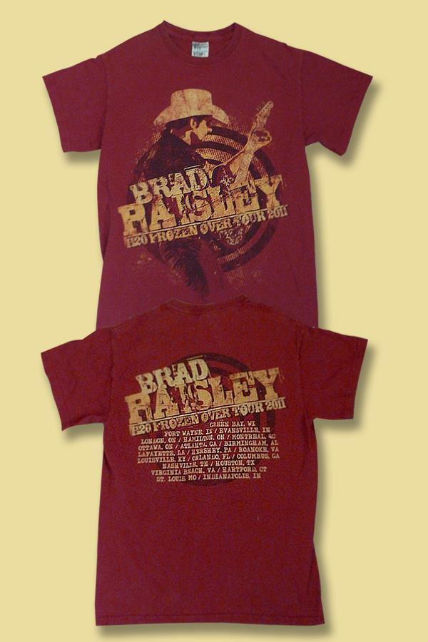 "BRAD PAISLEY - 2011 ""H2O FROZEN OVER"" CONCERT TOUR T-SHIRT / SZ. SMALL"