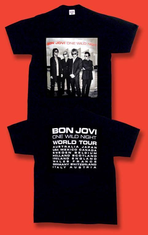 "BON JOVI - 2001 ""ONE WILD NIGHT"" CONCERT TOUR T-SHIRT / SZ. XL"