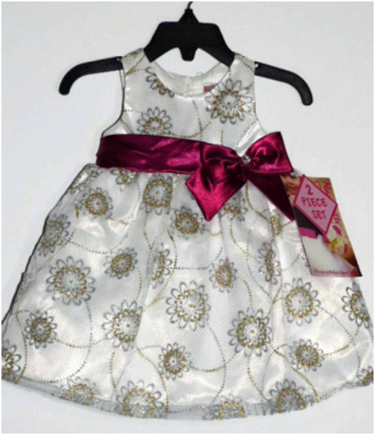 NEW Nannette Cream/Silver/Gold Dress with Purple Bow, 12 Months