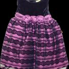 NEW Penelope Mack Girl's Black Velvet/Purple Holiday Dress, 18 Months