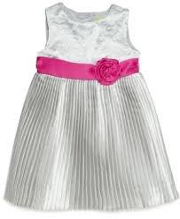 NEW Penelope Mack Toddler Girl Silver Pleat Dress