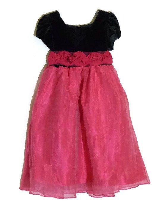 NEW RICHIE HOUSE Girls Pink/Black Velvet Christmas Dress with Rosettes, 4-5 yrs
