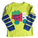 New Jkhaki Lime/Navy Blue Boys' Long Sleeve 'Truck' T-shirt Top, 3T