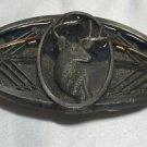 Vintage 1993 C&J Silvertone/Enamel Deer Head Bow Hunting Belt Buckle Archery USA