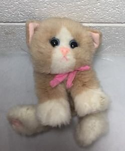 Tyco Kitty Kitty Kittens Tan White Purring Plush Cat Pink Bow