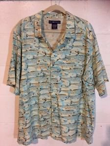 ExOfficio Button Front Vented Shirt XL Men's Short Sleeve Fishing Cotton Blend