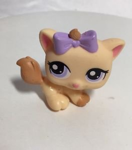 Littlest Pet Shop LPS #1337 Orange Petriplets Kitten Cat Purple Eyes Bow