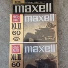 MAXELL XLII 60 HIGH BIAS CASSETTE TAPE SET OF 2 FACTORY SEALED