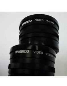 AMBICO VIDEO V-3100 WIDE ANGLE 0.5X AND VIDEO TELEPHOTO 1.5X CAMERA LENS W/CASE