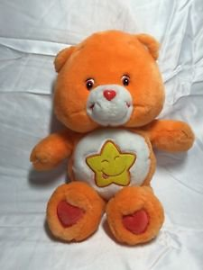 Care Bears Plush Laugh A Lot Bear Orange Yellow Star Tummy 2003 14 Inch