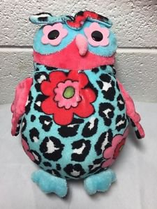 Douglas Heaven Aqua Leopard Owl Toy Plush Stuffed Animal Flower Pink Black White