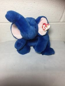 1998 Ty BEANIE BUDDY (buddies) rare ROYAL BLUE PEANUT ELEPHANT plush  w/ TAGS