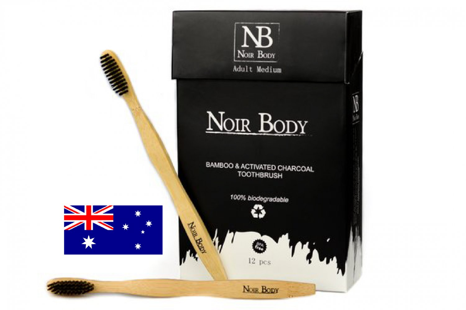 Charcoal Infused Bamboo Toothbrush (Box of 12)
