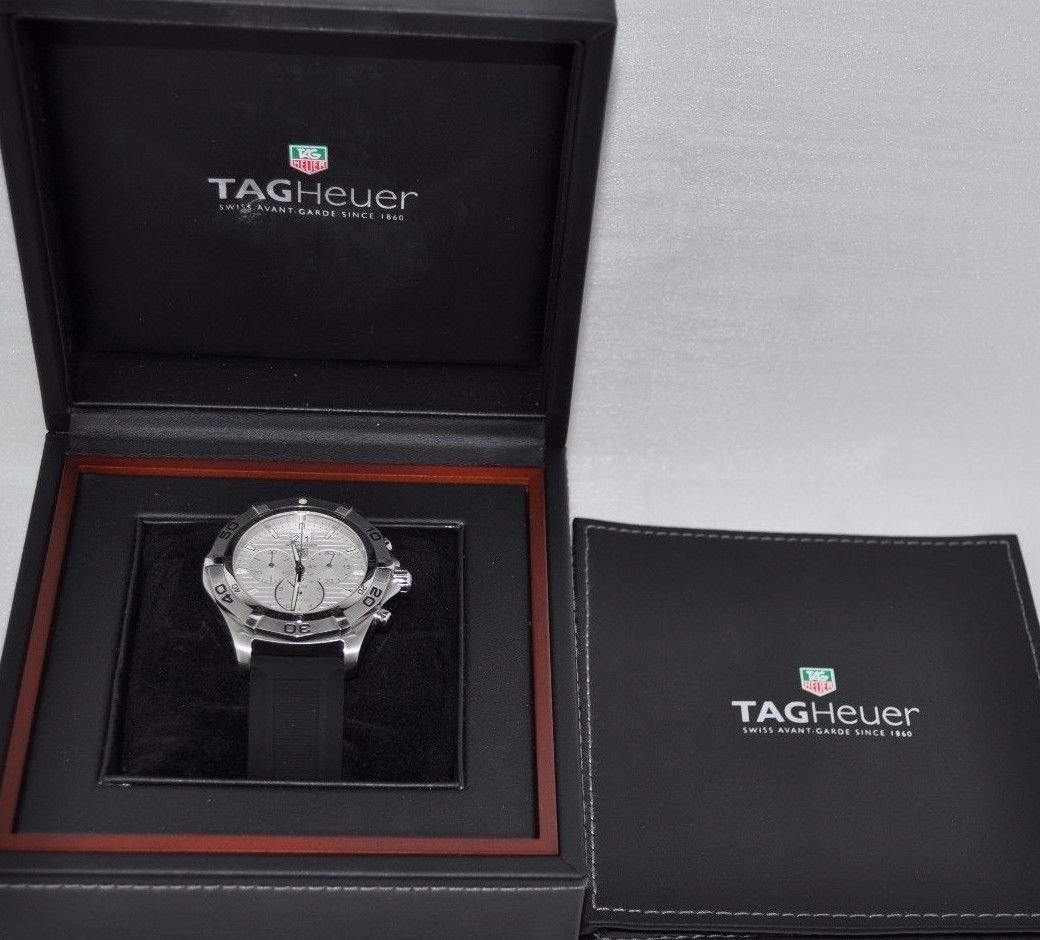 TAG Heuer Men's CAF101F.FT8011 Aquaracer Rubber Band White Dial Watch (307333)
