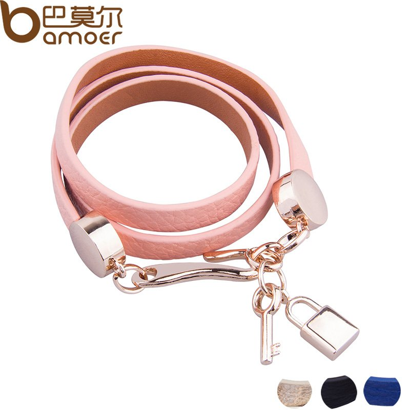Luxury Real 18K Gold Plated Genuine Pink Leather Bracelet Three Circle Jewelry for Women