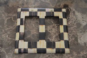 Double Gang Rocker Switch Plate made w/Mackenzie Childs Courtly Check Tissue