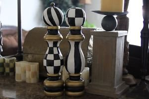 Hand Painted Black and White Checkered Salt and Pepper Herb Mill Wood Shaker Set