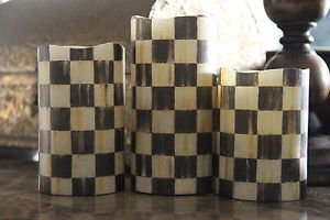 Flameless LED Pillar Candles made with Mackenzie Childs Courtly Check Paper