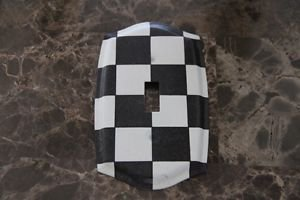 Single Toggle Switch Plate made with Black and White Checkered Paper