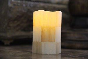 Flameless Vanilla LED Pillar Votive Candle made w/Mackenzie-Childs Parchment Ck