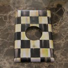Round Hole Receptacle Switch Plate made w/Mackenzie Childs Courtly Check Tissue