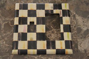 Rocker Single Toggle Switch Plate made w/Mackenzie Childs Courtly Check Tissue