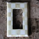Single Rocker Switch Plate made w/Mackenzie Childs Parchment Check