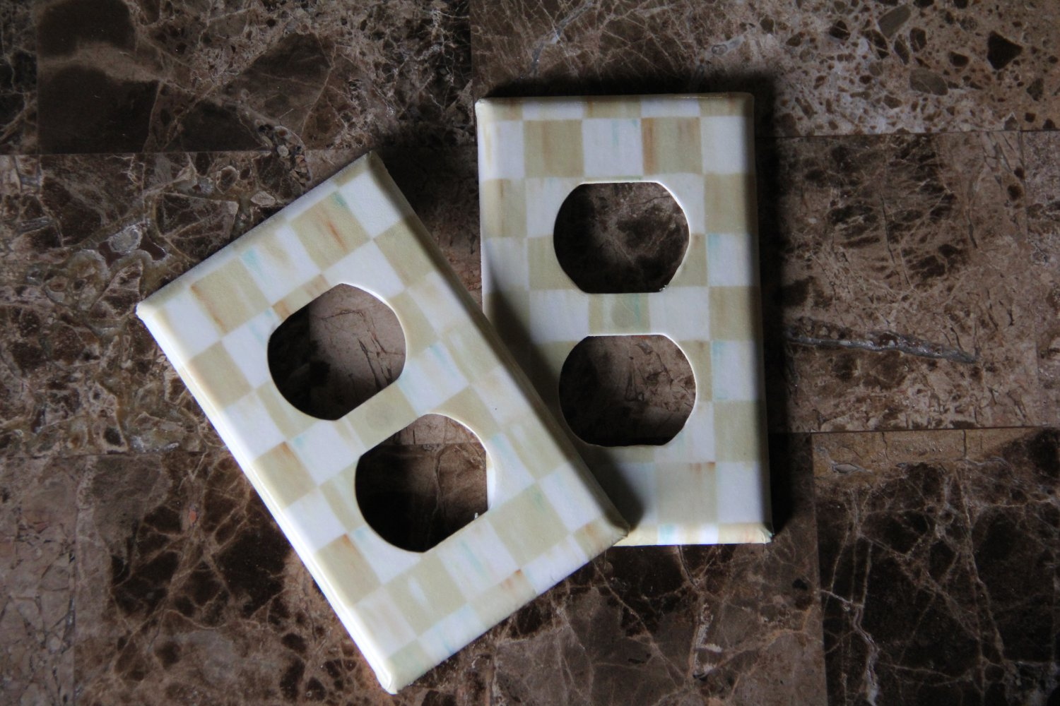 Double Socket Switch Plate made w/Mackenzie Childs Parchment Check Napkin