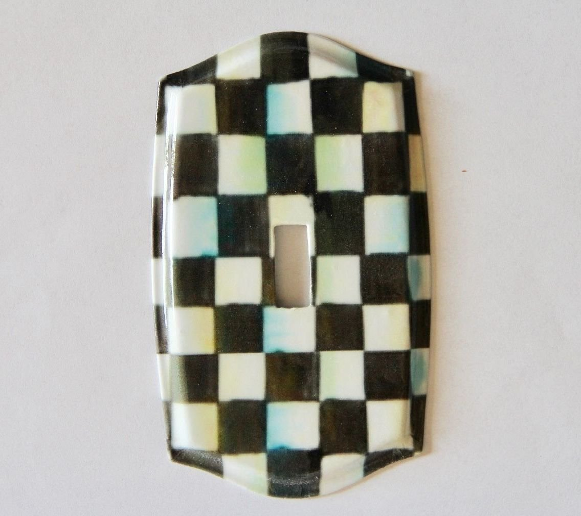 Single Toggle Light Switch Plate made w/Mackenzie Childs Courtly Check Paper