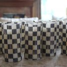 """Flameless LED Pillar Candles 4""""- 5"""" made w/Mackenzie Childs Courtly Check Paper"""