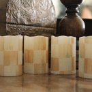 4 Flameless LED Pillar Candles made w/Mackenzie Childs Parchment Check Napkin