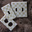 Switch Plate Outlet Covers made w/Mackenzie Childs Parchment Check Paper